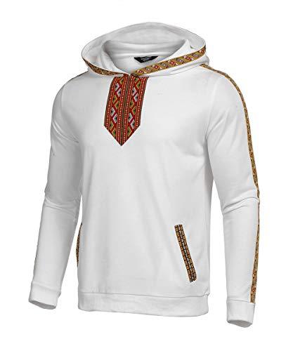 COOFANDY Men's Hip Hop Hoodies Tribal Style Pullover African Dashiki Sweatshirts Outwear White