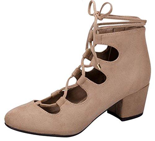 Breckelles Womens Ghillie Self-Tie Cutout Block Heel Pump Natural Ngsp4D