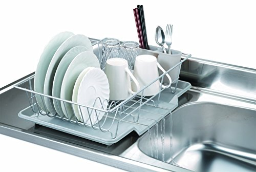 Home Basics 3-Piece Dish Drainer Set, Silver, 19-Inch by  12-Inch by 5-Inch by Home Basics (Image #1)