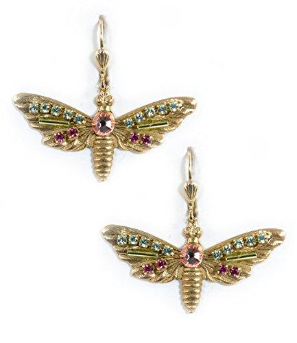 Clara Beau MultiColor Butterfly Swarovski Glass Crystal Mosaic GoldTone Earrings (Homemade Butterfly Costume)