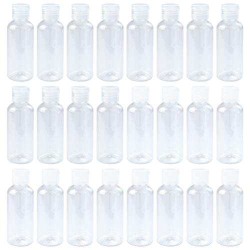 24 Pcs Plastic Travel Bottles, KKTOP 2 oz/60ml Empty Portable Bottles with Flip Cap for Cosmetic Shampoo, White And Clear Lid 2 Ounce Travel Bottle