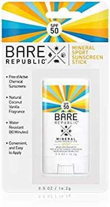 Bare Republic Mineral SPF 50 Sport Sunscreen Stick. Natural Vanilla Coconut Scented Lightweight and Sheer Sunscreen Stick with SPF 50 (.5 Ounces) 2 Pack