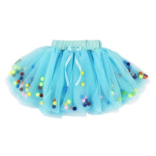 (YOHA Baby Girls Tutu Dress Pom Pom Balls Soft Tulle Tutu Dress for Toddler Girls(Aqua,90))