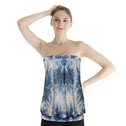 PattyCandy Women's Midnight Blue Washed Tie Dye Strapless Tube Top - (Midnight Tie Dye)