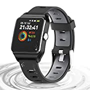 #LightningDeal HolyHigh Smart Watches GPS Sports Watch Touch Screen IP68 Waterproof 17 Sports Models Activity Tracker Pedometer with Heart Monitor Sleep Monitor Call SMS Remind for Kid Men Women Android iOS