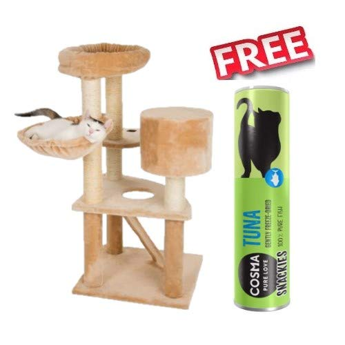 Bear's Den Cat Tree Compact Robust Cat Tree with Five Levels and Sleeping Den Covered with Plush Platform Shaped Paw 55 x 55 x 116 cm + Cosma Snackies Tuna (25g)
