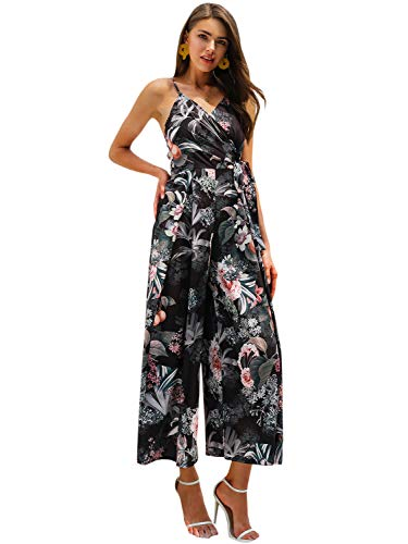 Miessial Women's Floral Spaghetti Strap Chiffon Jumpsuit Backless Wide Leg Pants Summer Rompers Black 8