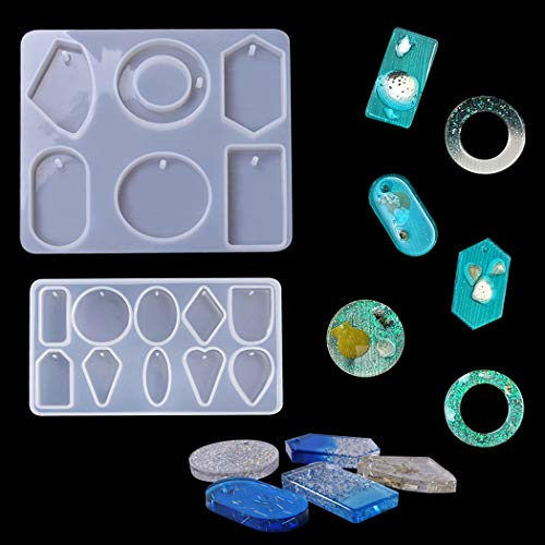 (iSuperb 2 Pieces Resin Casting Molds for DIY Pendant with Hole Silicone Geometric Mold for Jewelry Necklace Crystal Handmade Craft Molds Set (6&10 Continuous))