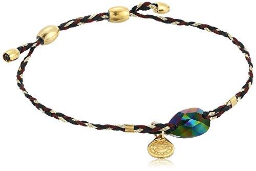 Alex and Ani Precious Threads, Crystal Rainbow Dark Swarovski Crystal, Woodland Braid, 14kt Gold Plated Bangle Bracelet ()