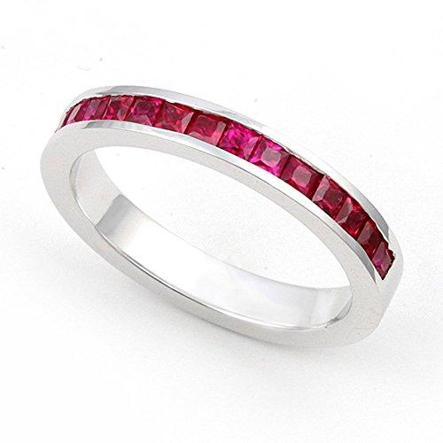 Juno Jewelry 14k White Gold Channel set Ruby Wedding Band...
