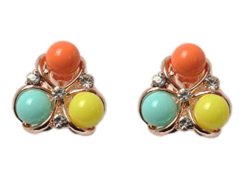 Women's Cute and Fashion Candy Color round ball stud Earrings Set,Mosaic Zirconium and colorful balls Alloy Ear Clip (Round Earring Zirconium)
