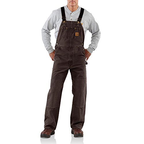 Carhartt Bib - Carhartt Men's Sandstone Bib Overalls Unlined,Dark Brown,38 x 32