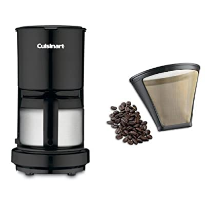 Cuisinart DCC-450BK 4-Cup Coffeemaker with Stainless-Steel Carafe, Black, and Filter Bundle