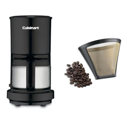 Cuisinart DCC-450BK 4-Cup Coffeemaker with Stainless-Steel Carafe, Black, and Filter Bundle by Cuisinart