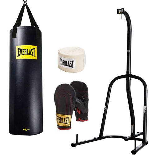 Stand Heavy Steel Bag (Everlast Single-Station Heavy Bag Stand and 100lb Heavy Bag Kit Value Bundle)