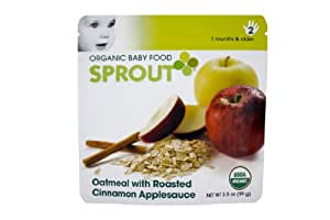 Sprout Organic Baby Food, Oatmeal with Roasted Cinnamon Applesauce, Stage 2, 3.5-Ounce Pouches (Pack of 12)