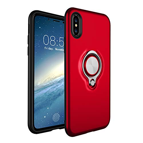 HONTECH Compatible Apple iPhone Xs Max 6.5 2018 Case, Magnetic Car Holder 360 Rotating Ring Kickstand Cover, Red