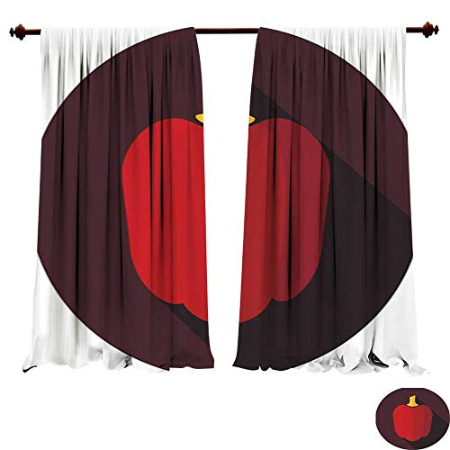 DragonBuildingMaterials Panels Sun Blocking Curtains Pepper Flat icon with Long Shadow Home Decoration Thermal Insulated Drapes - Xtra Large Flat Panel