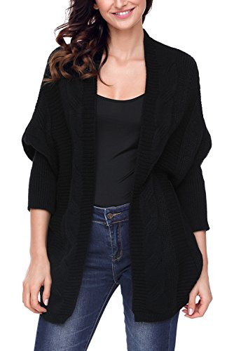 Leindr Women's Casual Loose Oversized Baggy Sweaters Open Front Batwing Long Sleeve Draped Chunky Knit Cardigan Tops Outwear Coat Black L 12 14 (Maternity Coat Petite)
