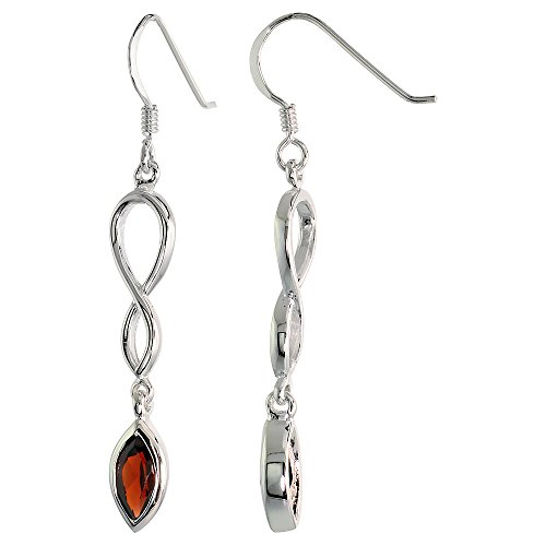 Sterling Silver Genuine Garnet Infinity Symbol Earrings Teardrop, 1 3/4 inch