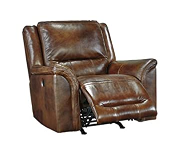 Ashley Furniture Signature Design – Jayron Power Rocker Recliner – Leather Reclining Sofa – Harness