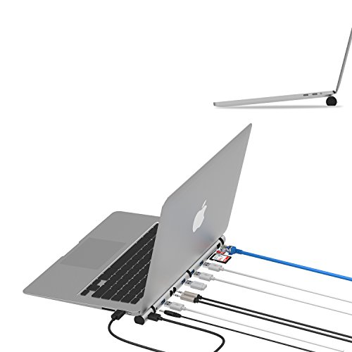 WNNT USB3.0 Docking Station, LAN RJ45,3.5mm Jacks for Microphone/Headphone, SD/MicroSD Card Reader, 4USB3.0 5Gbps, with A2C Adapter Support Type C New MacBook 12/13/15'', and Windows Laptop by WNNT