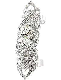 Silvertone Full Finger Rhinestone Crystal Two Band Armor Knuckle Heart Shield Ring (Silvertone)