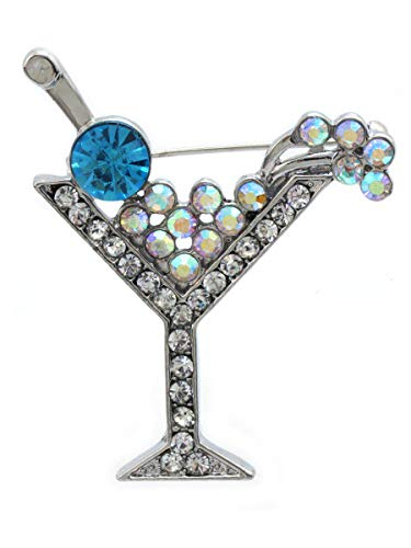 cocojewelry Cherry Martini Glass Cocktail Party Brooch Pin Women Jewelry (Aqua) ()