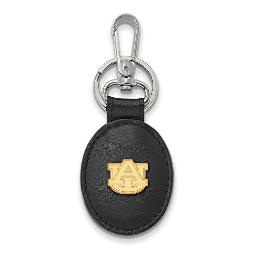 (Roy Rose Jewelry Sterling Silver with 14K Yellow Gold-Plated LogoArt Auburn University Black Leather Oval Key Chain)