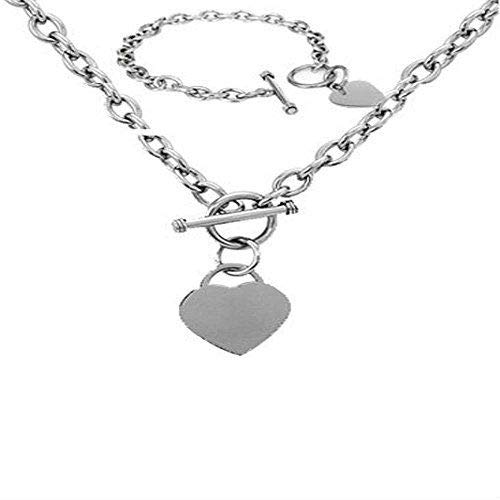 (Crazy2Shop Stainless Steel Elegant High Polished Heart Charm Cable Link Chain Necklace&Bracelet Set with Toggle Clasp, Length:Neckalce 18', Bracelet: 7.5')