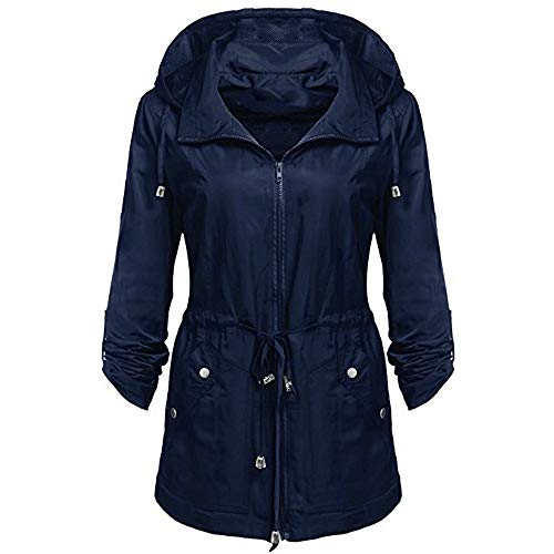 GOVOW Rain Jacket Women Waterproof with Hood Lightweight Anorak Detachable Hooded Coat on Clearance(US:16/CN:XL,Blue)