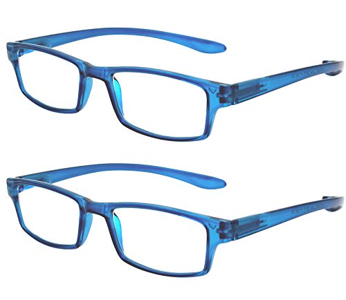 1aa3e1aab1 TBOC Gafas de Lectura Presbicia Vista Cansada - (Pack 2 Unidades) Graduadas  +2.00 Dioptrías Montura de Pasta Azul Patillas Extra Largas Colgar Cuello  Hombre ...