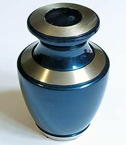 Urna funeraria por - Recuerdo de Cremación Urna para cenizas Humanos - Hand Made in Brass - Se adapta una pequeña cantidad de restos cremados de adultos, así como las cenizas de perros, gatos u otros animales domésticos - Mostrar recuerdo Entierro urna en casa o la oficina (Ocean Blue Modelo )
