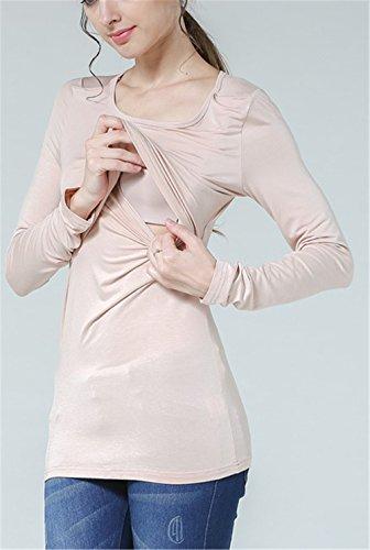 Unita Premaman Comoda Maglietta Top T L'allattamento Tinta Lunga Elegante Doppi Bluse Manica Casual shirt Femminili Donna Beige Sunvool Strati 1Y4qgq