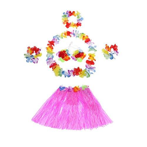 [Anself 6pcs Child Hawaii Hula Skirt Set Grass Skirts] (Luau Costumes Ideas)