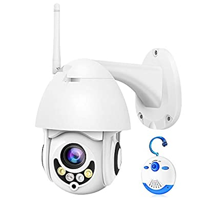 Luowice WiFi IP Camera Outdoor Wireless PTZ Security Camera HD 1080P Pan Tilt Zoom 5X Optical 100ft Color Night Vision Two-Way Audio IP66 Weatherproof Motion Detection & Alerts