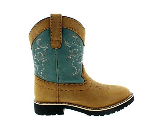 Itasca Girls Youth Pull-on Leather/Nylon Buckaroo Western Boot, Teal, 3.0 Standard US Width US Big - Buckaroo Boots Western