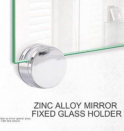 ZOZOSEP Clips en Verre Pinces Porte-Forme Ronde Zinc Clips Miroir en Alliage de 5 mm d/épaisseur pour Miroir
