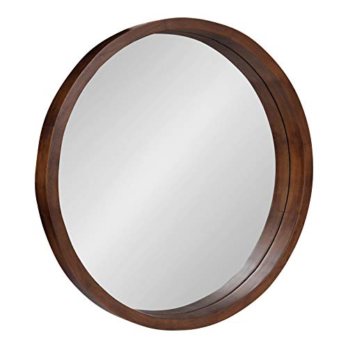 (Kate and Laurel Hutton Round Decorative Modern Wood Frame Wall Mirror, 22 Inch Diameter, Walnut Finish)