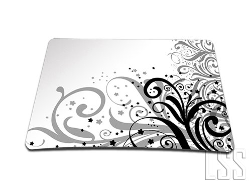 Grey Swirl Black & White Floral Colored 1 X Standard 7 x 9 Rectangle Non - Slip Rubber Mouse Pad (Floral Swirls Iphone)