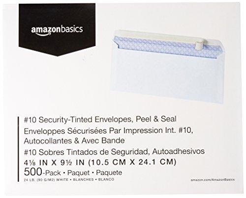 AmazonBasics #10 Security-Tinted Envelope, Peel & Seal, White, 500-Pack Photo #4