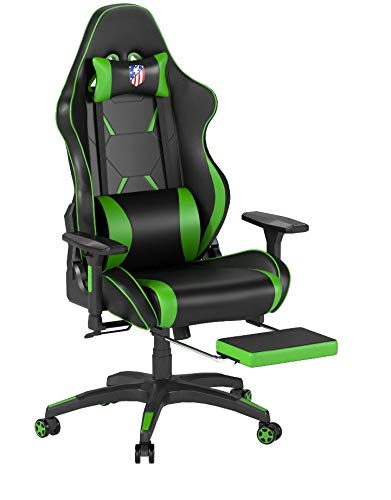 Kinsal Gaming Chair Racing Style High-Back PU Leather Office Chair Computer Desk Chair Executive and Ergonomic Style Swivel Chair with Headrest and Massage Lumbar Support (Green)