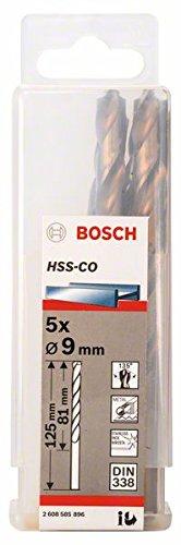 Bosch Professional Metallbohrer HSS-Cobalt (5 Stück, Ø 9 mm) 2608585896