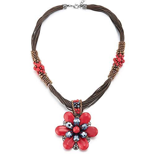 (COOLSTEELANDBEYOND Large Statement Flower Necklace Multi-Strand Collar Red Blue Gem Stone Dangle Pendant, Party)