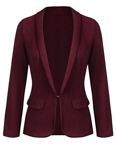 Grabsa Women's Work Office Blazer Long Sleeve Classic Open Front Jacket Suit Medium