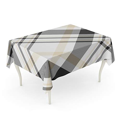 Emvency Rectangle Tablecloth 60 x 84 Inch Brown Border Plaid Printing Pattern Check in Black White and Beige Tan British Checker Classic Diagonal Table Cloth