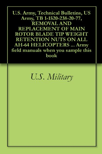 (U.S. Army, Technical Bulletins, US Army, TB 1-1520-238-20-77, REMOVAL AND REPLACEMENT OF MAIN ROTOR BLADE TIP WEIGHT RETENTION NUTS ON ALL AH-64 HELICOPTERS ... field manuals when you sample this book)