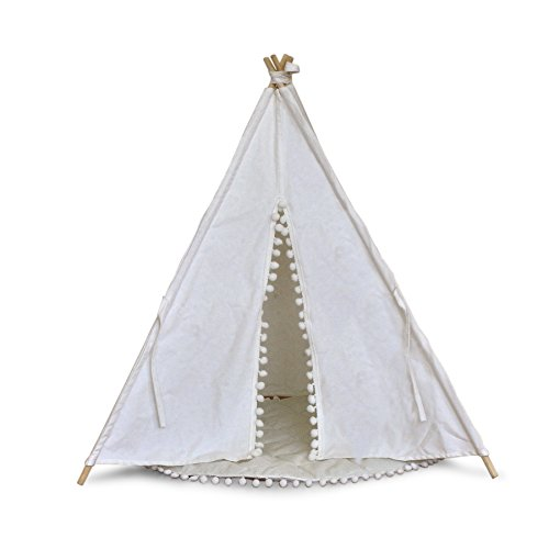 Teepee American Indian Native (LUVE Dog Teepee Tent House Indian Wood Canvas Portable Fold Away Pet Tent Furniture Cat Bed (Pom Pom))
