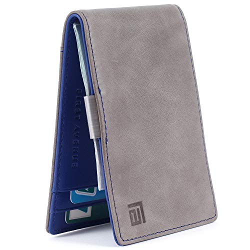 Slim Minimalist Grey Blue Wallet for Men, Genuine Leather, Money Clip, RFID Blocking, Front Pocket - Grey Wallet w/Blue Leather Interior, Bifold Card Holder, Gift Box -
