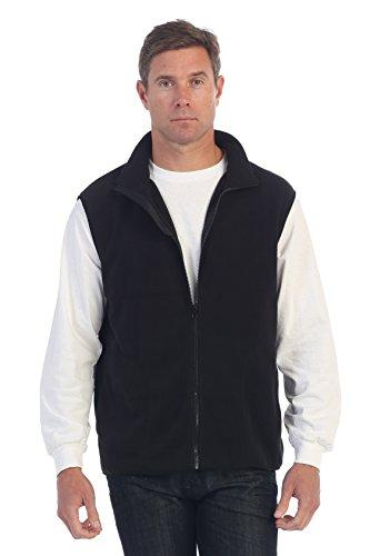 Gioberti Men's Full Zipper Polar Fleece Vest, Black, Medium